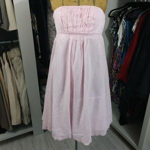 J. Crew Pink Striped Linen/Cotton Strapless Dress